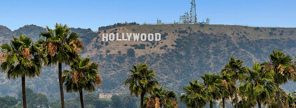 Hollywood sign near West Hollywood apartments Villa Francisca