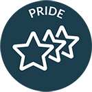 Decron Value Pride depicted by three stars