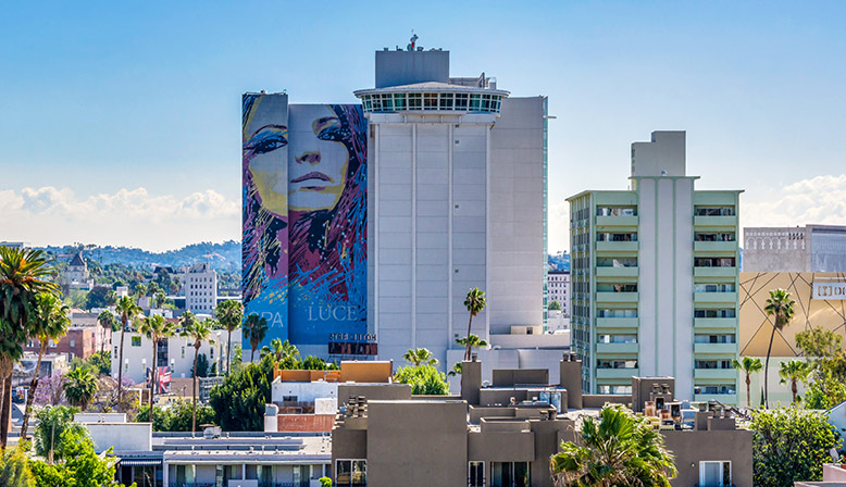 Rooftop city view at The Ruby Hollywood apartments