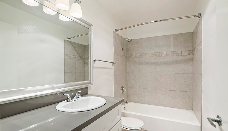 Unfurnished bathroom interior at The Ruby Hollywood apartments