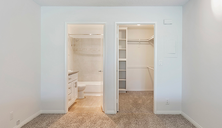 Bathroom and walk-in closet at The Ruby Hollywood apartments