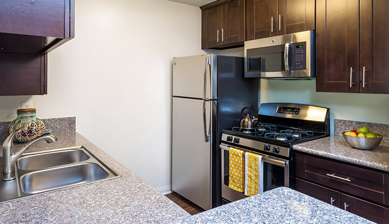 Furnished kitchen at The Ruby Hollywood apartments