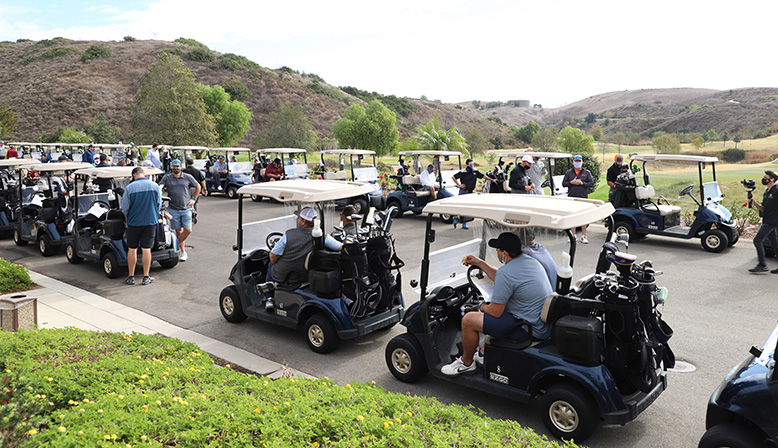 Golf carts at the 11th Annual Golf Tournament Benefiting YULA