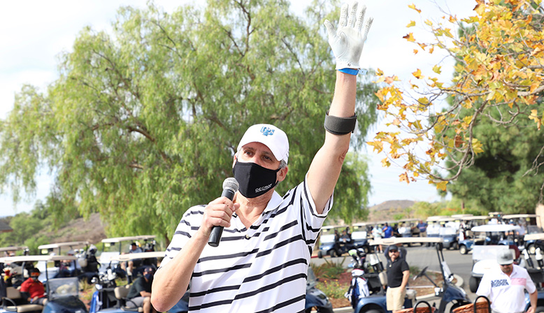 Decron CEO David Nagel giving speech at the 11th Annual Golf Tournament Benefiting YULA