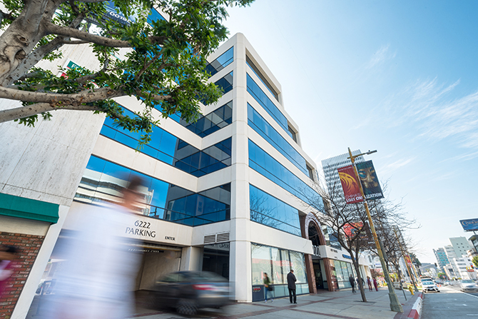 6222 Wilshire building exterior, where Decron is now using Openpath touchless elevator tech