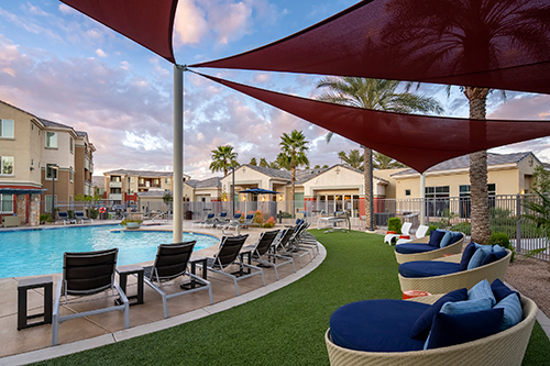 Resort-style pool area in the Tempe apartments community at 1221 Broadway, acquired by Decron