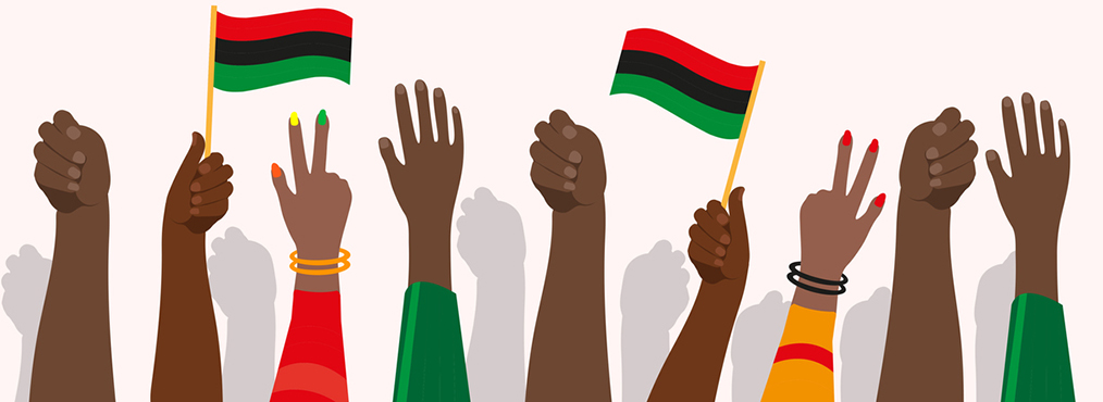 Illustration of hands and flags waving in the air in celebration of Juneteenth