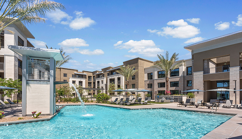 Large resort-style pool at Broadstone Grand, multifamily apartments in Tempe, AZ