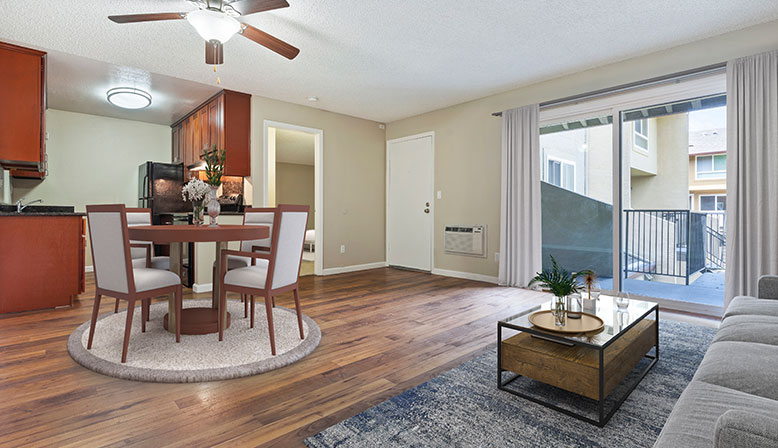 Furnished dining room in a model unit at Rancho Luna Sol, Fremont apartments in the Bay Area