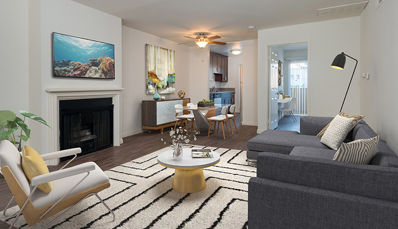 3D render of living room with fireplace at Playa Marina, Playa Vista apartments in Los Angeles