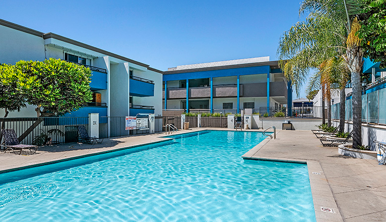 Closer view of large resort-style pool at Westside Terrace, West Los Angeles apartments